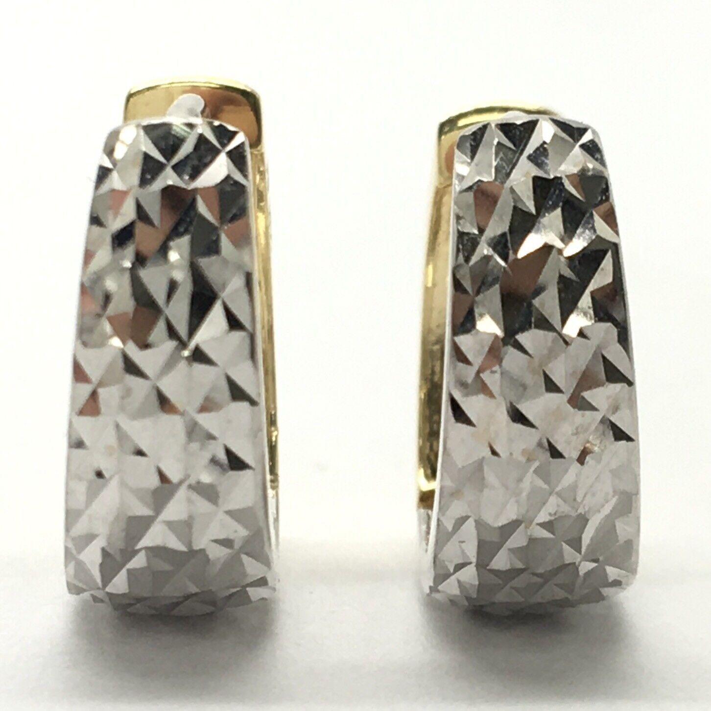18K Two-Tone Diamond Cut Hoop Earrings