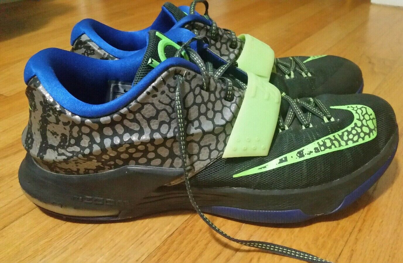 Nike KD 7 VII Electric Eel Metallic Kevin Durant Pewter Flash Lime Men's Size 12