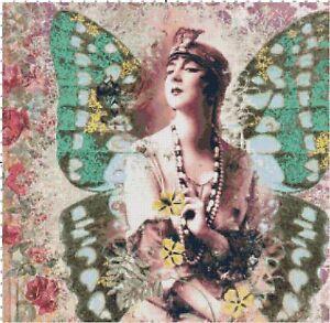 Art Deco Butterfly Woman #1 Counted Cross-Stitch Pattern Chart