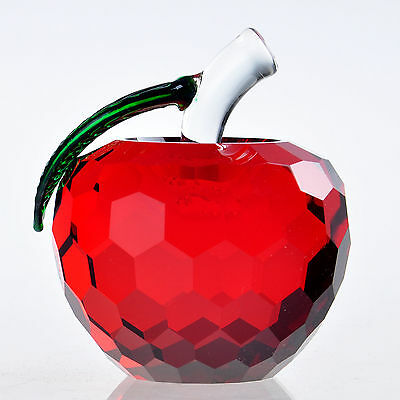 Wholesales 3D Crystal Paperweight Facet Red Apple Figurine Glass Decor Gift Cute