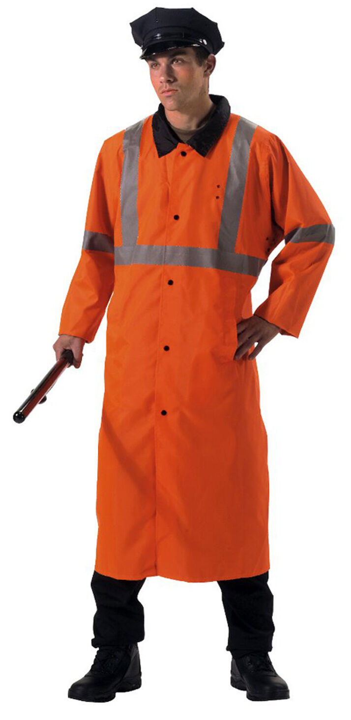 Herren Reflektierende Sicherheits Regen Parka Orange Umkehrbar Schwarz Rothco