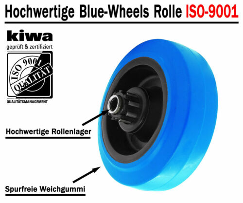 ISO-9001 Germany Blue Wheels Industrie Transport Lenk Rollen 4 x Ø 100mm Le-Bo