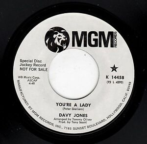 RARE-PROMO-DAVY-JONES-MONKEES-MGM-14458-YOU-039-RE-A-LADY-WHO-WAS-IT