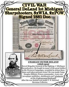 CIVIL WAR General DeLand, 1ST MI, POW & WIA, Abolitionist & Underground RR