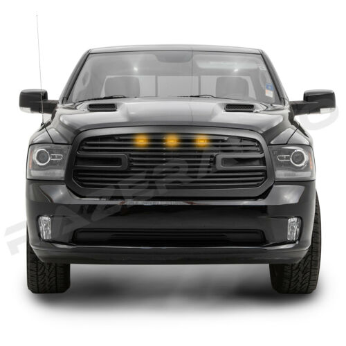 13-18 RAM 1500 Big Horn 2+3x LED Matte Black Packaged Grille+Shell Replacement