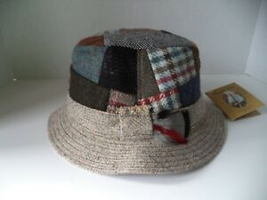 522220d357f Image is loading Hanna-tweed-walking-hat-patch-work-Large-multicolor-