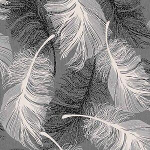 Image Is Loading Monochrome Grey White Black Feather Wallpaper Silver Glitter