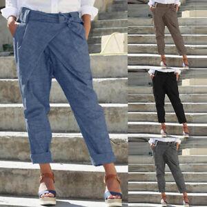 ZANZEA-Femme-Pantalon-Poches-Taille-elastique-Ceinture-Couleur-Unie-Ample-Longue
