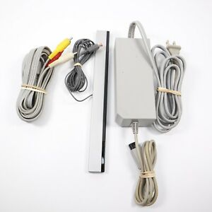 Genuine OEM Nintendo Wii Power Cord AC Adapter AV Cable & Motion Sensor Bundle