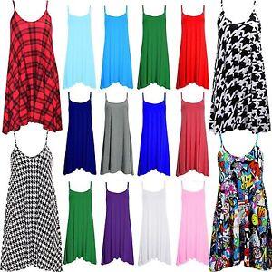 Womens-Plain-Cami-Ladies-Summer-Swing-Mini-Dress-Long-Top-Plus-Size-vest-8-26
