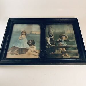 Antique-Pictures-of-Children-Black-Frame-Hand-Colored-Lithograph-Girl-Boy-Dogs