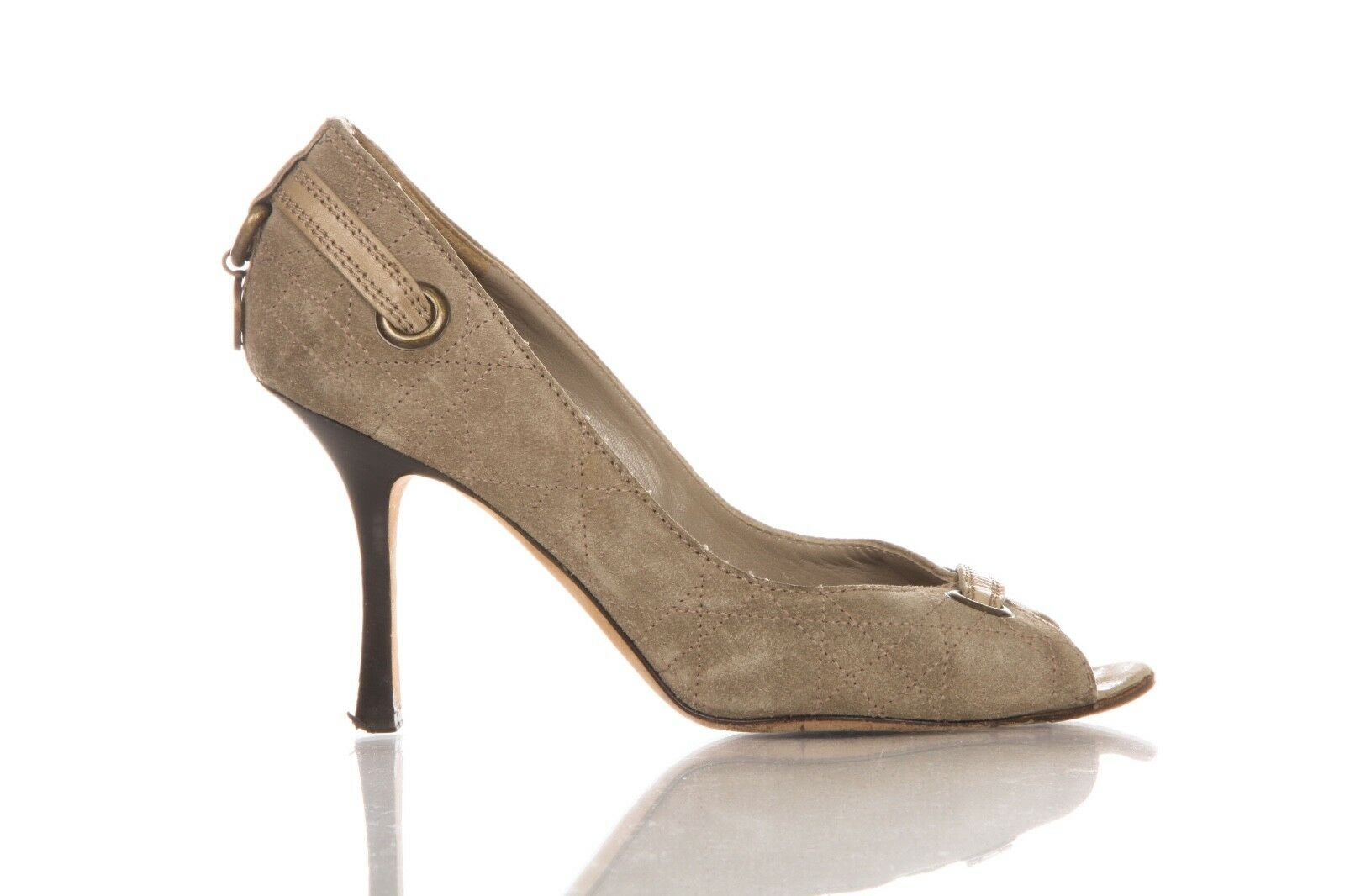 CHRISTIAN DIOR Heels US 8 Suede Beige Taupe Peep Open Toe Pumps