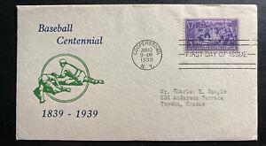 1939-Cooperstown-USA-First-day-Cover-FDC-Baseball-Centennial-Sc-855