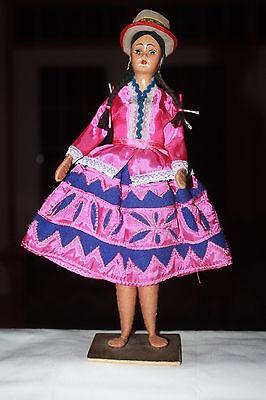 "Vintage Handmade Ethnic Folk Lore 11.5"" Girl Doll Composition Cloth Bright In Colour Dolls & Bears"