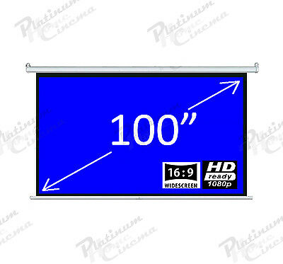 """New 100"""" Electric HD Projection Screen projector home cinema 16:9 Matt White"""