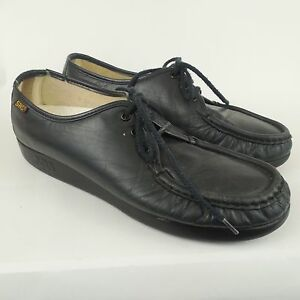 9095979b30f SAS Bounce Handsewn Navy Blue Leather Granny Comfort Loafers Shoes ...