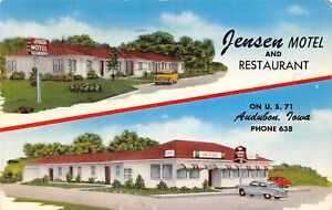 Burlington-Iowa-Jensen-Motel-amp-Restaurant-1950s-Cars-Private-Powder-Room-1953-PC