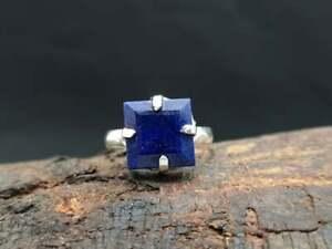 Natural-Blue-Sapphire-Gemstone-925-Sterling-Silver-Artisan-Prong-Set-Ring