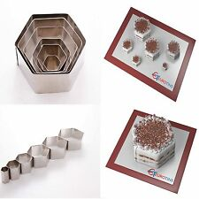 "Hexagon Shape Steel Cookie Cake Fondant Cutter 1"" deep set of 6"