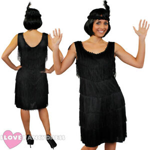 Image Is Loading DELUXE BLACK FRINGE FLAPPER FANCY DRESS ADULT CHARLESTON