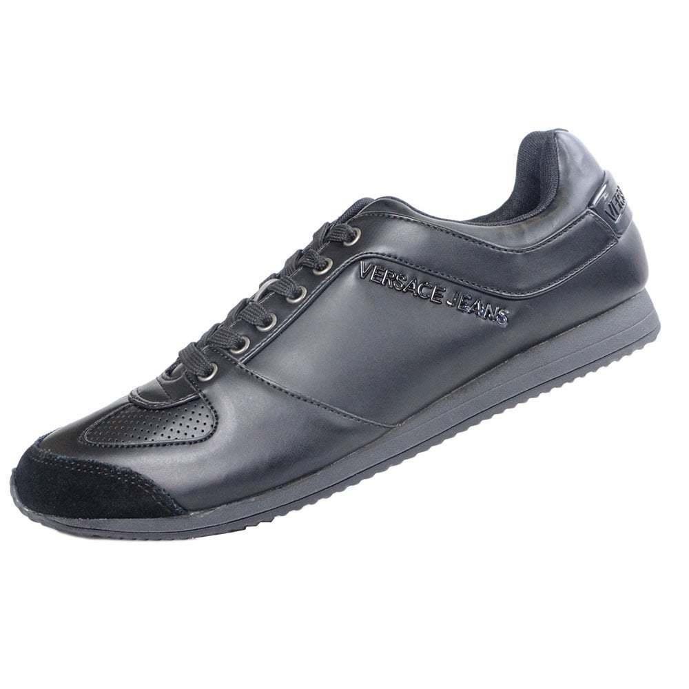 Negro Cuero De Nsqevd1365 Jeans Versace Ante Zapatillas L3AR4j5