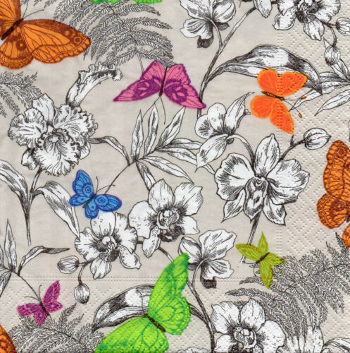 4 Motivservietten Servietten Napkins Tovaglioli Blumen Schmetterlinge 136