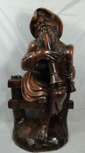 Aspiring Sculpture Sage Instrument Music Wooden 1900 China At The Indochina Art d329