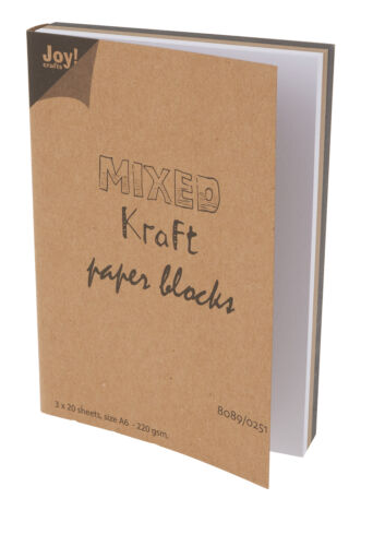 "Joy Craft Papier-Block /""Mixed Kraft paper blocks/"" 3x20 Blatt Papier Kraftpapier"