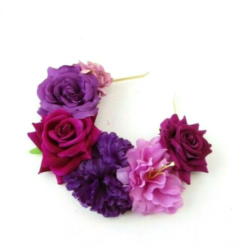 Purple Pink Flower Headband Sugar Skull Frida Khalo Halloween Hair Crown 7362