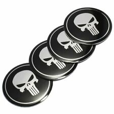 4pcs 56mm 65mm Punisher Car Steering Wheel Center Hub Cap Emblem Stickers Decals