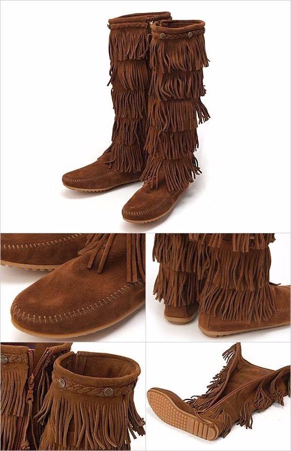 Minnetonka Women's 5-Layer Fringe Fringe Fringe Knee High Boots Dusty Brown   1658 -SIZE 11 262598