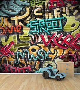 Graffiti muro carta da parati murale modello 2 cameretta for Carta muro lavabile adesiva