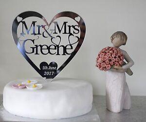 Personalised wedding cake topper Mr&Mrs  Silver Mirror acrylic heart keepsake