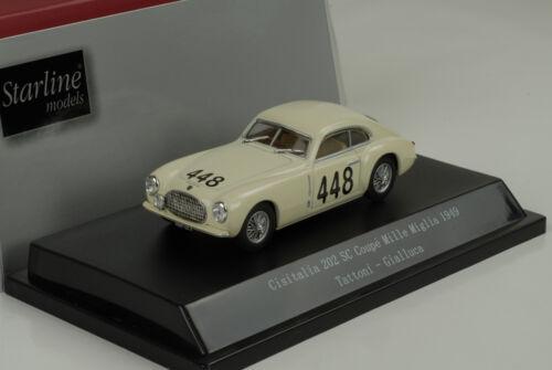 Cisitalia 202 SC Coupe Mille Miglia 1949 Tattoni//Gialluca #448 1:43 Starline