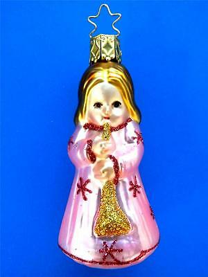 INGE GLAS SM PINK ANGEL GERMAN BLOWN GLASS CHRISTMAS ORNAMENT