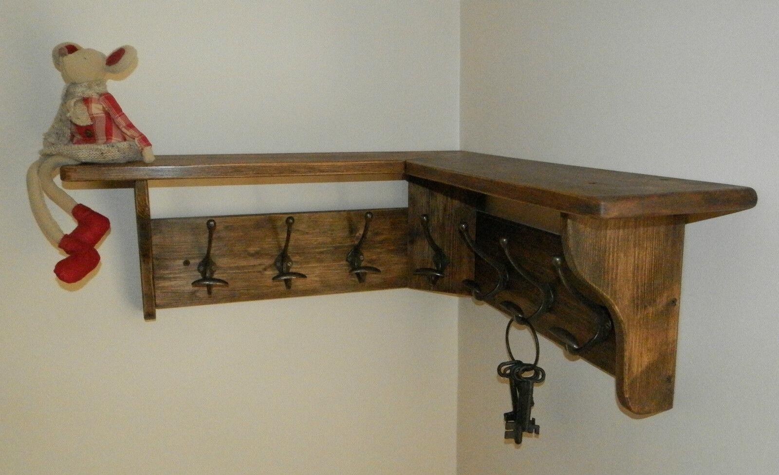 Angolo in legno di pino massello ATTACCAPANNI con Mensola shabby RUSTICO giacobino rustico, Ganci