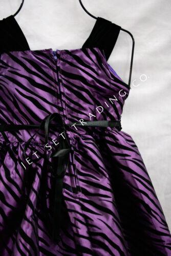 Girls Fancy Purple Animal Print Taffeta Dress Sizes 4 to 16
