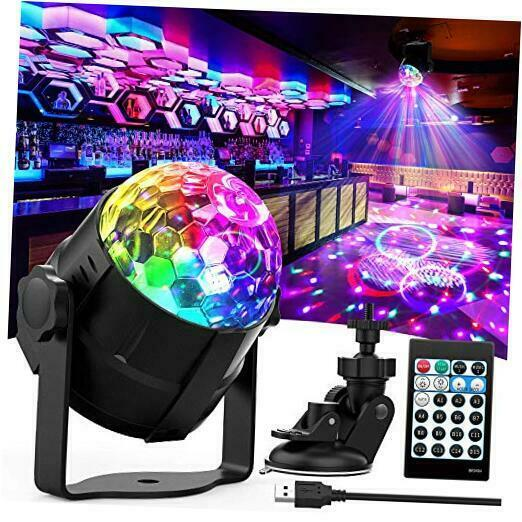 Disco Ball Light, 15 Colors Sound Activated Party Lights with Remote Black