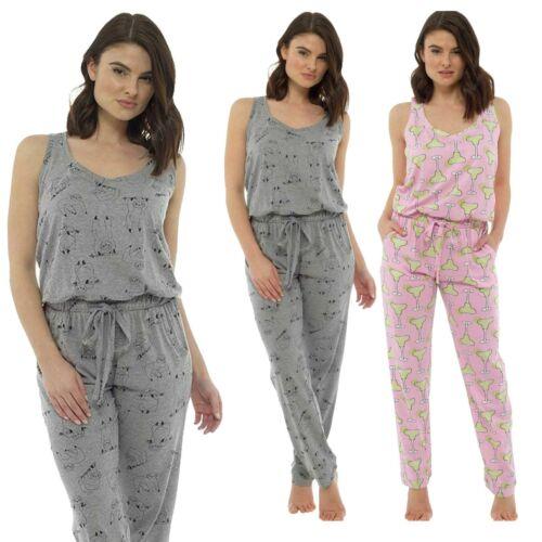 Ladies Novelty Jumpsuit PJ Lounge Wear Sloth Cocktail Print Size 8-22 Pink Grey