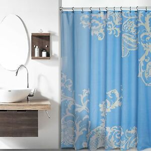 Fabric Shower Curtain Blue With Beige Floral Pattern 70 W X 72 L