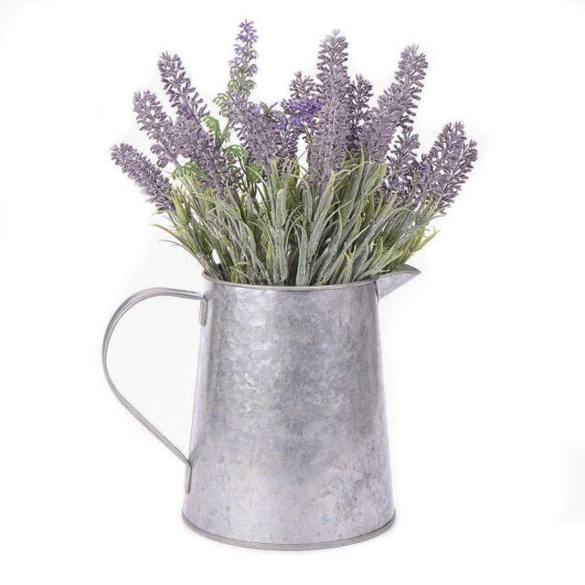 Vintage H147 Metal 08 Gal Galvanized Watering Canplantflower Vase