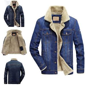 a8554e13c5b7 Men s Jean Jacket Fur Collar Fleece Lined Fashion Casual Denim Warm ...