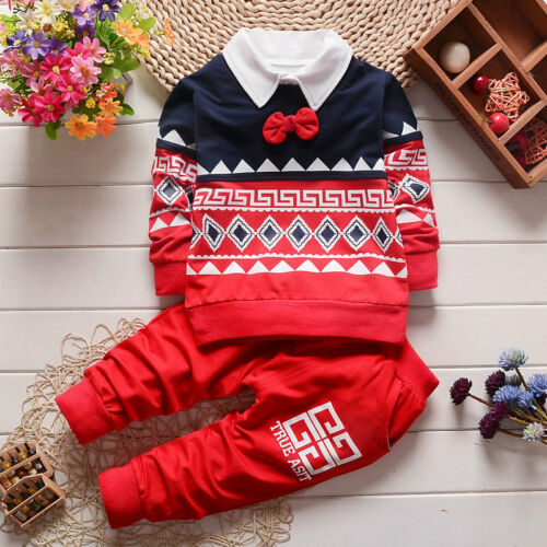 2PC Toddler Baby Boys Kids T-shirt  Tops+Long Pants Clothes Outfits Gentlemanset