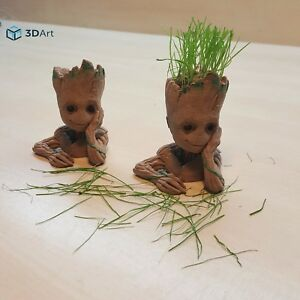 Details About Baby Groot Flower Pot Head Wood Planter Figure Guardians Of The Galaxy 3d Print