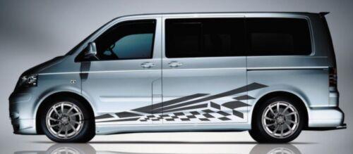 Fits Volkswagen Transporter Caravelle T5 T6 Side Stripe Flag Flash Decal Sticker