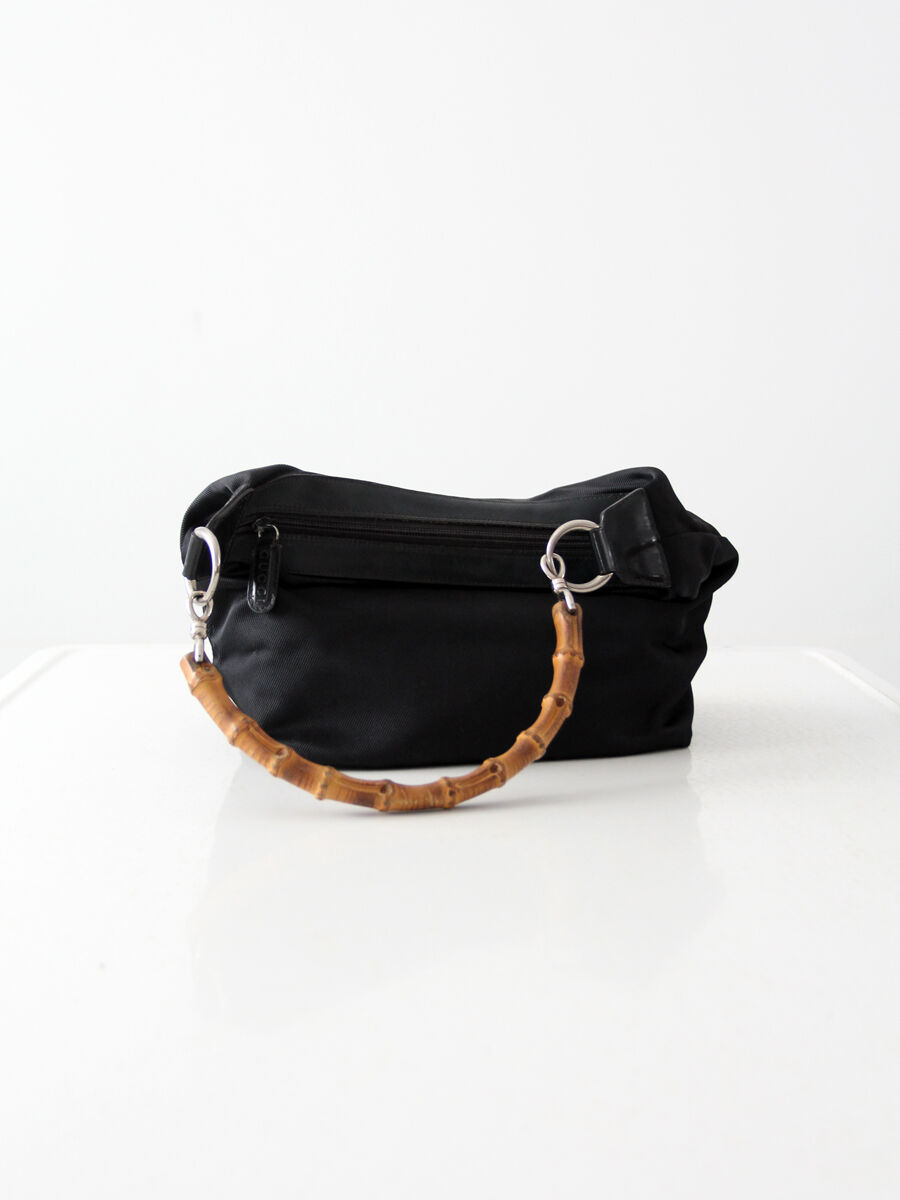 Gucci diana bag with bamboo handle, black nylon s… - image 5
