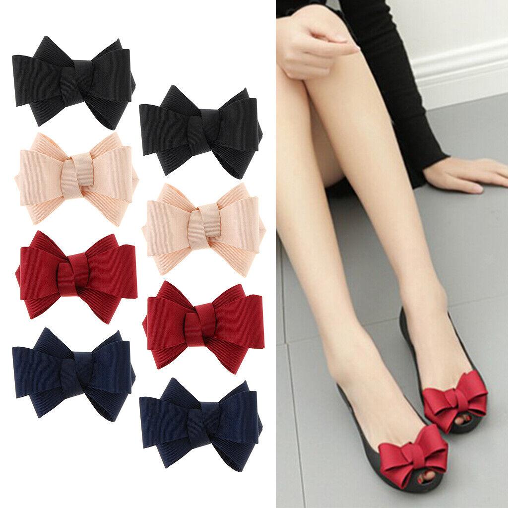 8 Pieces Ribbon Bow Shoe Clips Ladies Shoes Buckle Clip Shoe Charms 4 Colors
