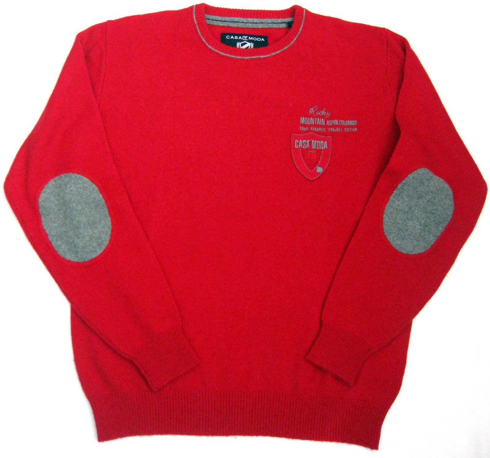 Casa Moda Sportivo Maglione Pullover camicie Pullover Lana di Agnello ROSSO GIROCOLLO L-XXL