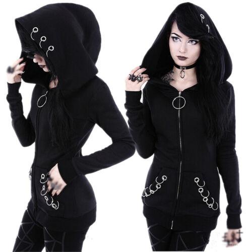Women/'s Gothic Punk Slim Coat Long Sleeve Hoodie Jacket Cosplay Zipper Outwear