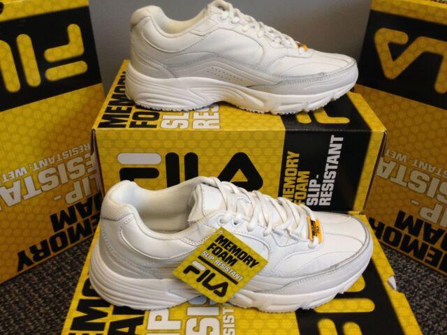 2388d1ea1a641 FILA Mens Memory Workshift Slip Resistant Sneaker  1SG30002-100 All White  Med